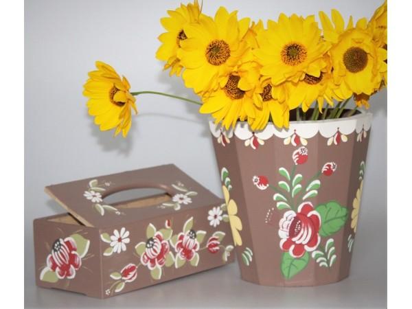 Oferta cutie din lemn si ghiveci