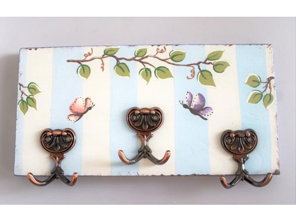 Cuier din lemn - Fluturi
