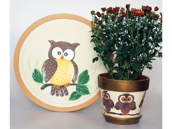Oferta Ghiveci si Tocator decorativ cu Bufnite
