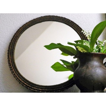 Oglinda rotunda veche (din lemn impletit)