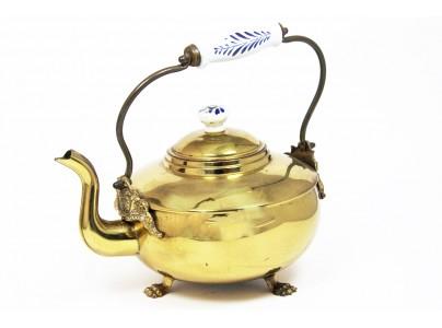 Ceainic vechi din alama si ceramica - 2.2 litri