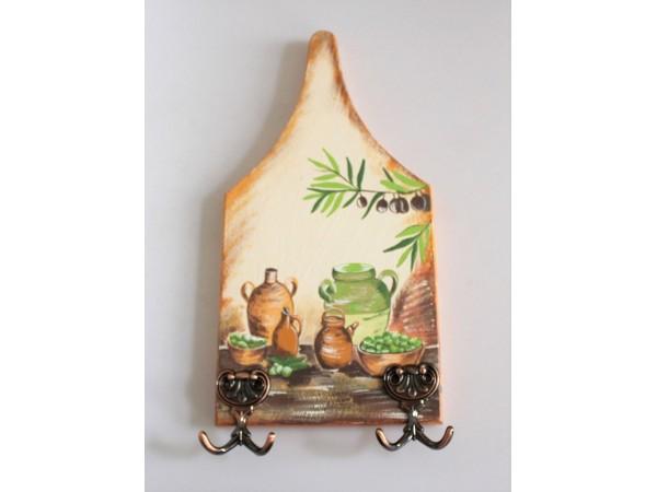Cuier din lemn pictat manual