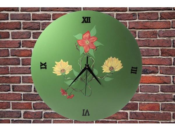 Ceas de lemn pictat manual - diametru 35 cm